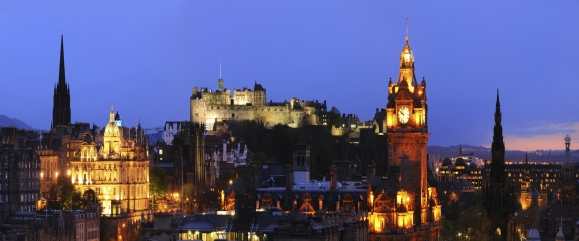 Looking across the city of Edinburgh at dusk, viewed from Calton Hill